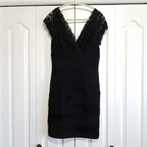 Le Chateau Black dress with beaded lace accents